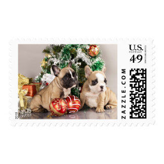 French bulldog puppy and Christmas gifts Stamp