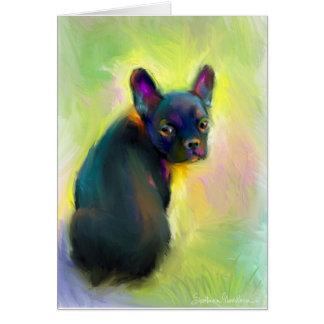 French bulldog puppy art greeting card