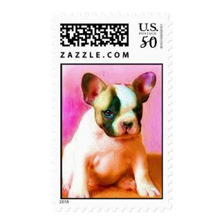 French Bulldog puppy art postage