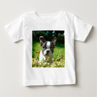 French bulldog puppy behind the foliage t shirt