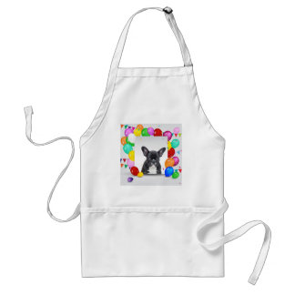French Bulldog Puppy Colorful Balloons Birthday Adult Apron