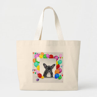French Bulldog Puppy Colorful Balloons Birthday Large Tote Bag