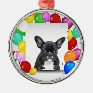 French Bulldog Puppy Colorful Balloons Birthday Metal Ornament