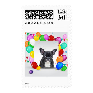French Bulldog Puppy Colorful Balloons Birthday Postage