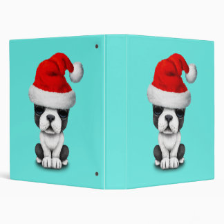 French Bulldog Puppy Dog Wearing a Santa Hat 3 Ring Binder