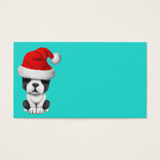 French Bulldog Puppy Dog Wearing a Santa Hat Business Card