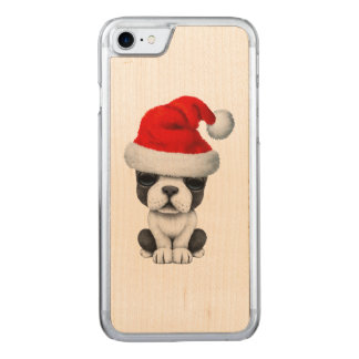 French Bulldog Puppy Dog Wearing a Santa Hat Carved iPhone 8/7 Case