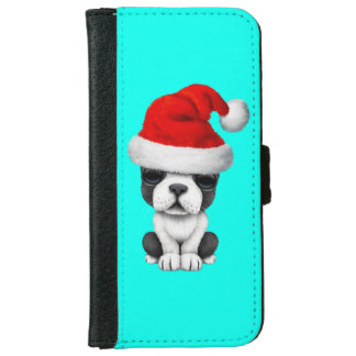 French Bulldog Puppy Dog Wearing a Santa Hat iPhone 6/6s Wallet Case