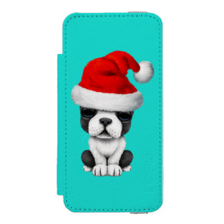 French Bulldog Puppy Dog Wearing a Santa Hat iPhone SE/5/5s Wallet Case