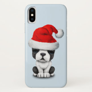 French Bulldog Puppy Dog Wearing a Santa Hat iPhone X Case