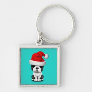 French Bulldog Puppy Dog Wearing a Santa Hat Keychain
