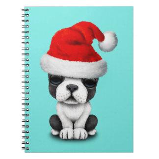 French Bulldog Puppy Dog Wearing a Santa Hat Notebook