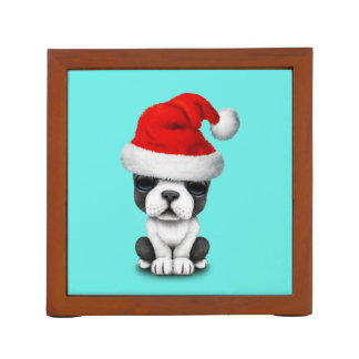 French Bulldog Puppy Dog Wearing a Santa Hat Pencil/Pen Holder
