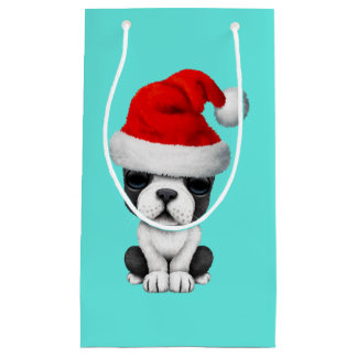 French Bulldog Puppy Dog Wearing a Santa Hat Small Gift Bag