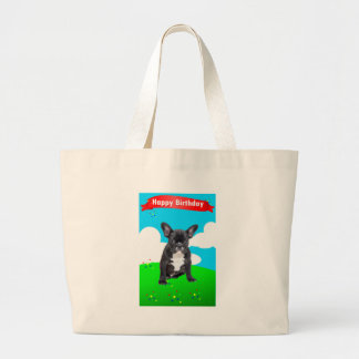 French Bulldog Puppy Happy Birthday Clouds Garden Large Tote Bag