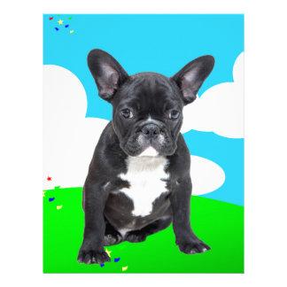 French Bulldog Puppy Happy Birthday Clouds Garden Letterhead