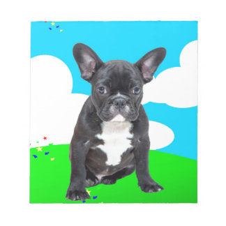 French Bulldog Puppy Happy Birthday Clouds Garden Notepad
