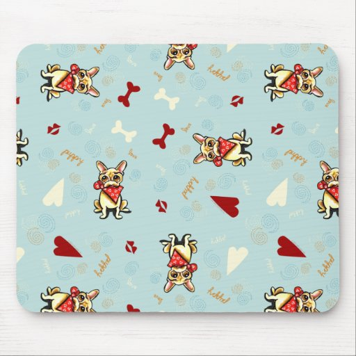 French Bulldog Puppy Love Valentine Mouse Pad