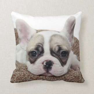 French Bulldog Puppy Lying In A Dog Bed Throw Pillow