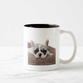 French Bulldog Puppy Lying In A Dog Bed Two-Tone Coffee Mug
