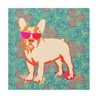 French Bulldog Puppy on roses Wood Wall Art