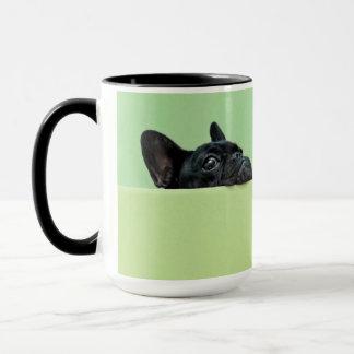 French Bulldog Puppy Peering Over Wall Mug