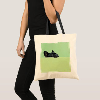 French Bulldog Puppy Peering Over Wall Tote Bag