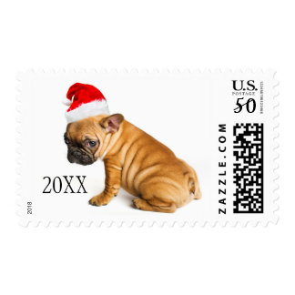 French bulldog puppy wearing a Santa Claus hat Postage