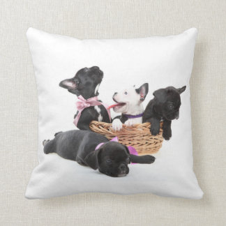French Bulldog Pups Throw Pillow