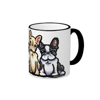 French Bulldog Quartet Ringer Coffee Mug