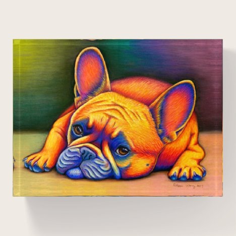 French Bulldog Rainbow Frenchie Dog Paperweight