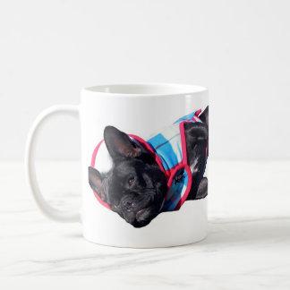 French Bulldog relaxing, Paris Logo, Caffine pl... Classic White Coffee Mug