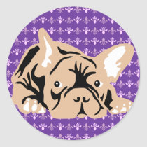 French Bulldog rose Classic Round Sticker