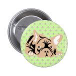 French Bulldog rose Pinback Button