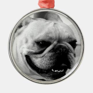 French Bulldog Round Metal Christmas Ornament