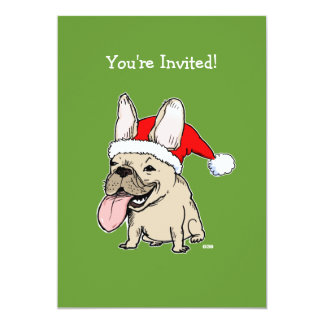French Bulldog Santa Christmas Party Invitation