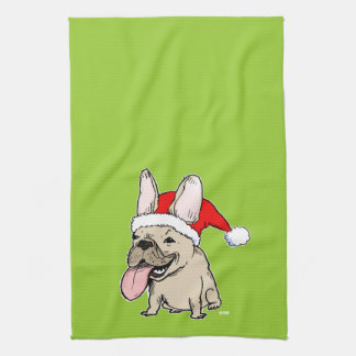 French Bulldog Santa Clause - Cute Dog Holiday Towel