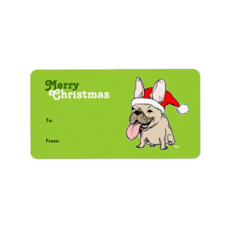 French Bulldog Santa Gift Tags Address Label