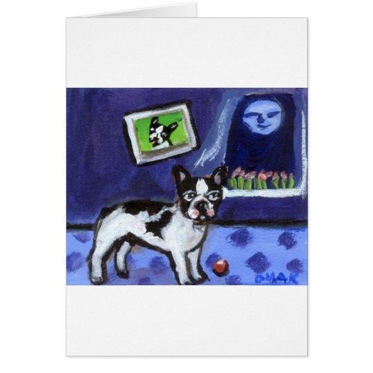 French Bulldog senses smiling moon Card