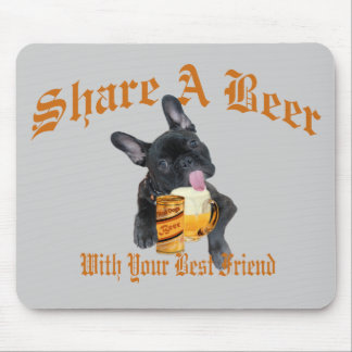 French Bulldog Shares A Beer Mouse Pad