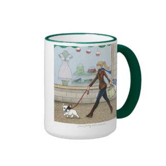French Bulldog Shopping Ringer Coffee Mug