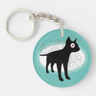 french bulldog silhouette big eye funny animal keychain