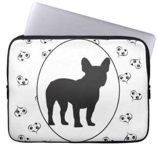 French Bulldog Silhouette Hearts and Paw Prints Computer Sleeve
