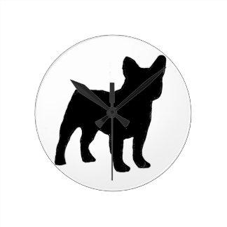 french bulldog silhouette round clock