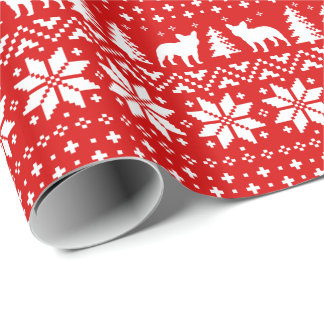 French Bulldog Silhouettes Christmas Pattern Red Wrapping Paper