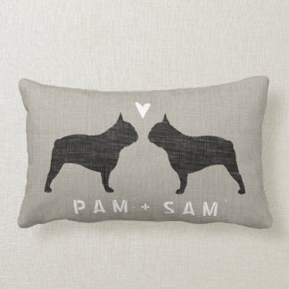 French Bulldog Silhouettes Love - Personalize Lumbar Pillow