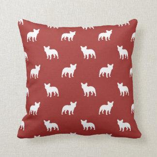 French Bulldog Silhouettes Pattern Throw Pillow