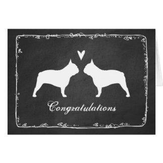 French Bulldog Silhouettes Wedding Congratulations Card