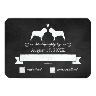 French Bulldog Silhouettes Wedding Reply RSVP Card