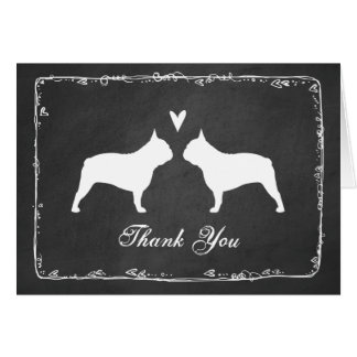 French Bulldog Silhouettes Wedding Thank You Card